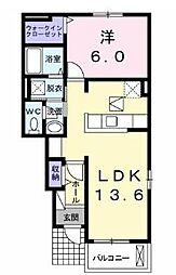 JR山陽本線 五日市駅 4.3kmの賃貸アパート 1階1LDKの間取り