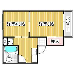 愛知県名古屋市中川区荒子1丁目の賃貸アパートの間取り