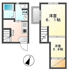 愛知県名古屋市西区枇杷島2丁目の賃貸アパートの間取り