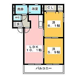 パストラルアークA[1階]の間取り