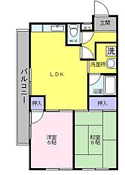 大阪府堺市西区鳳東町4丁の賃貸マンションの間取り