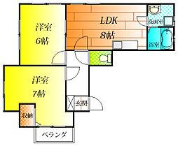 シティハイツ藤井寺[2階]の間取り