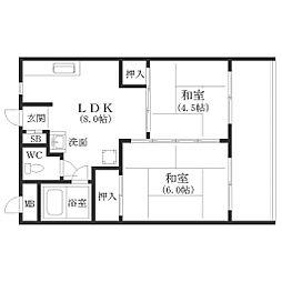 グリーンコーポ北加賀屋[5階]の間取り