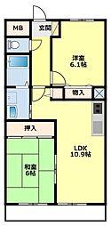 愛知県豊田市若林東町宮間の賃貸アパートの間取り