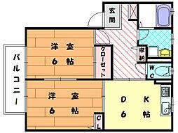 福岡県古賀市花見南1丁目の賃貸アパートの間取り