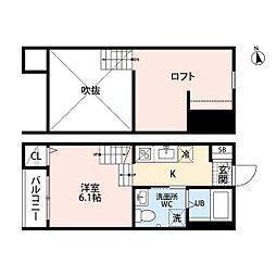 JR鹿児島本線 箱崎駅 徒歩3分の賃貸アパート 2階ワンルームの間取り