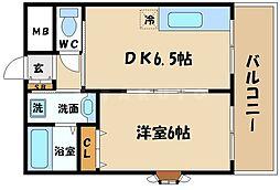 若杉ロイヤルマンション 6階1DKの間取り