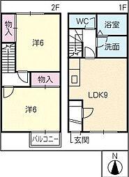 [タウンハウス] 三重県鈴鹿市岡田2丁目 の賃貸【/】の間取り