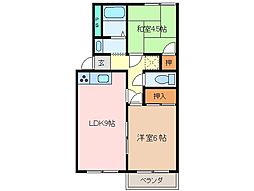 三重県松阪市嬉野黒田町の賃貸アパートの間取り