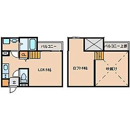 兵庫県尼崎市東七松町2丁目の賃貸アパートの間取り