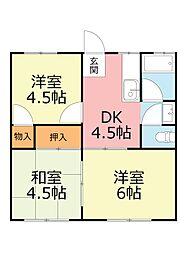 神奈川県南足柄市駒形新宿の賃貸アパートの間取り