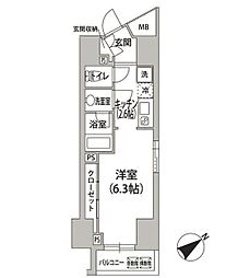 都営浅草線 東銀座駅 徒歩5分の賃貸マンション 12階ワンルームの間取り