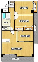 第5元木ビル[5階]の間取り
