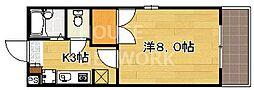京都府京都市上京区下山里町の賃貸マンションの間取り