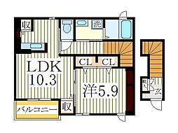千葉県我孫子市栄の賃貸アパートの間取り
