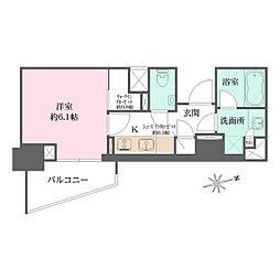 東京メトロ有楽町線 江戸川橋駅 徒歩6分の賃貸マンション 2階1Kの間取り
