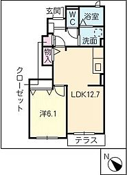 ラフィークB[1階]の間取り