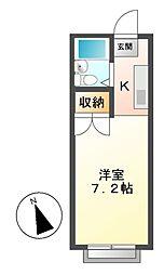 愛知県豊明市栄町大根の賃貸アパートの間取り