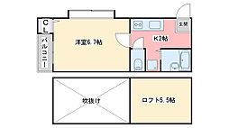 福岡県福岡市西区小戸4丁目の賃貸アパートの間取り
