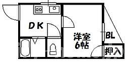 大阪府大阪市住吉区我孫子西2丁目の賃貸マンションの間取り