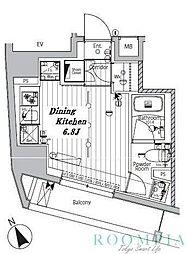 メイクスデザイン品川戸越 7階ワンルームの間取り
