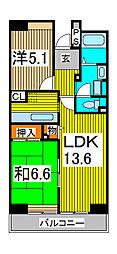 コーポレート浦和中島 2号棟[3階]の間取り