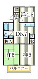 ドリームハイツB[1階]の間取り