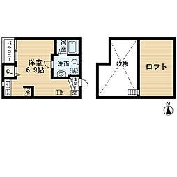 ハピネスヒルズII ・初期費用約10万円・[205号室号室]の間取り