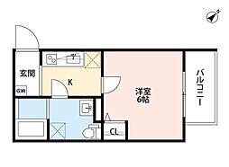 Osaka Metro今里筋線 だいどう豊里駅 徒歩8分の賃貸アパート 3階1Kの間取り