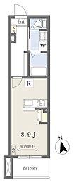 荒町賃貸住宅 2階ワンルームの間取り
