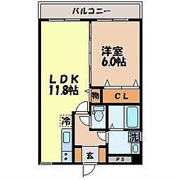 ステーションビュー美坂 8階1LDKの間取り