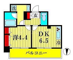 JR総武線 両国駅 徒歩9分の賃貸マンション 6階1DKの間取り