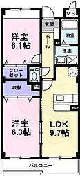 南海高野線 萩原天神駅 徒歩4分の賃貸マンション 2階2DKの間取り