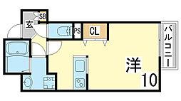 JR山陽本線 須磨海浜公園駅 徒歩4分の賃貸マンション 5階1Kの間取り