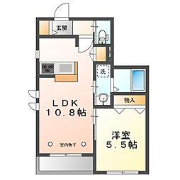 JR中央線 東小金井駅 徒歩20分の賃貸マンション 1階1LDKの間取り