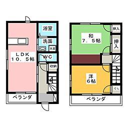 [テラスハウス] 静岡県磐田市匂坂上 の賃貸【/】の間取り