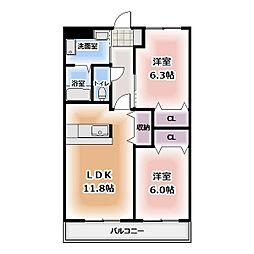 バウハウス弥生143[3階]の間取り