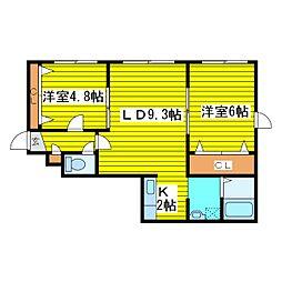 北海道札幌市東区北十九条東18丁目の賃貸アパートの間取り