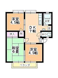 タキシマハイツC棟[103号室]の間取り