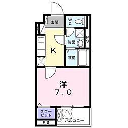 小田急小田原線 本厚木駅 徒歩8分の賃貸マンション 3階1Kの間取り