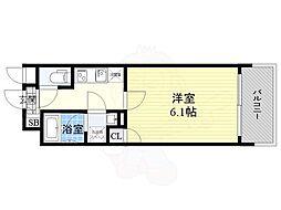 JR東西線 大阪天満宮駅 徒歩2分の賃貸マンション 12階1Kの間取り