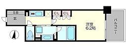 ザ・パークハビオ堂島 7階1Kの間取り