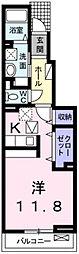 エスペランサ中仁野VI 1階1Kの間取り