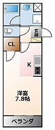 甲子園ガーデンズ 3階1Kの間取り