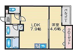 阪急京都本線 茨木市駅 徒歩11分の賃貸アパート 1階1LDKの間取り
