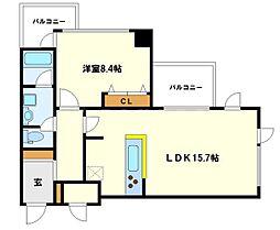 ベルファース大阪新町 13階1LDKの間取り