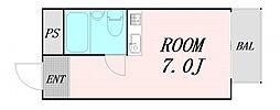 シバヤ中津 4階ワンルームの間取り