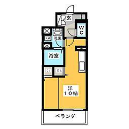仮称)ヤマウラマンション 4階ワンルームの間取り
