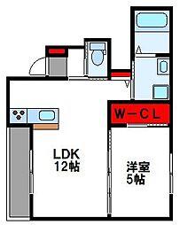 JR篠栗線 柚須駅 徒歩14分の賃貸アパート 1階1LDKの間取り