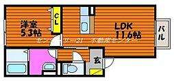 JR赤穂線 大富駅 徒歩24分の賃貸アパート 1階1LDKの間取り